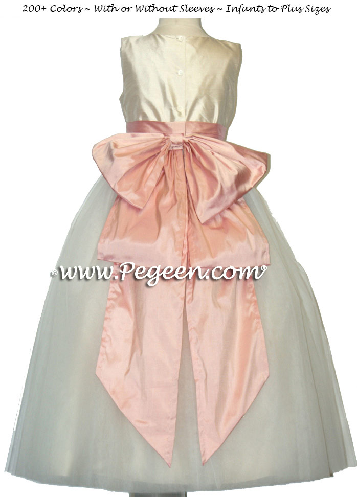 bisque ivory and lotus pink FLOWER GIRL DRESSES with 10 layers of tulle