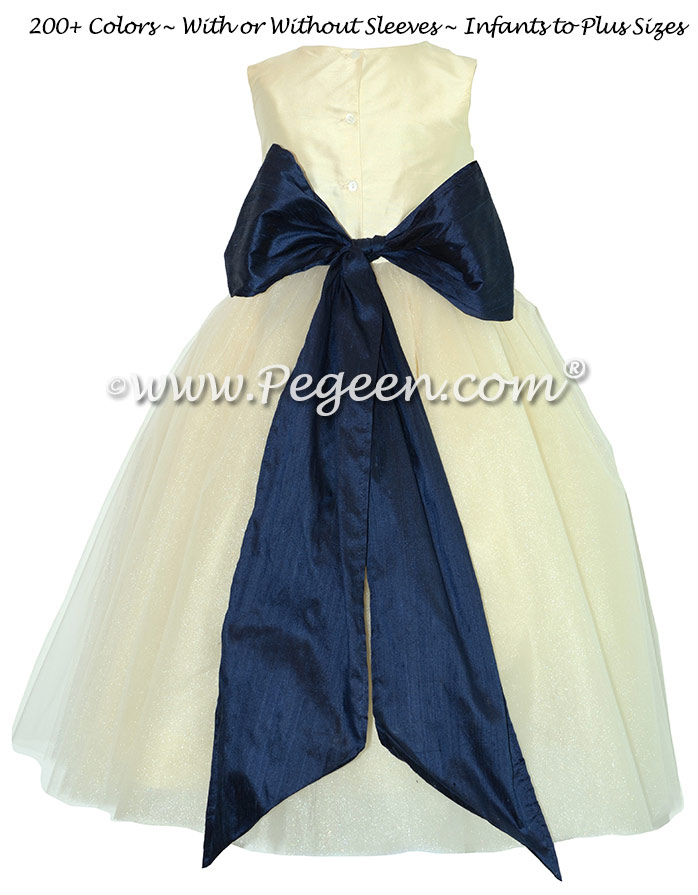 Bisque and Navy  Silk and Tulle Silk Style 402 Flower Girl Dresses