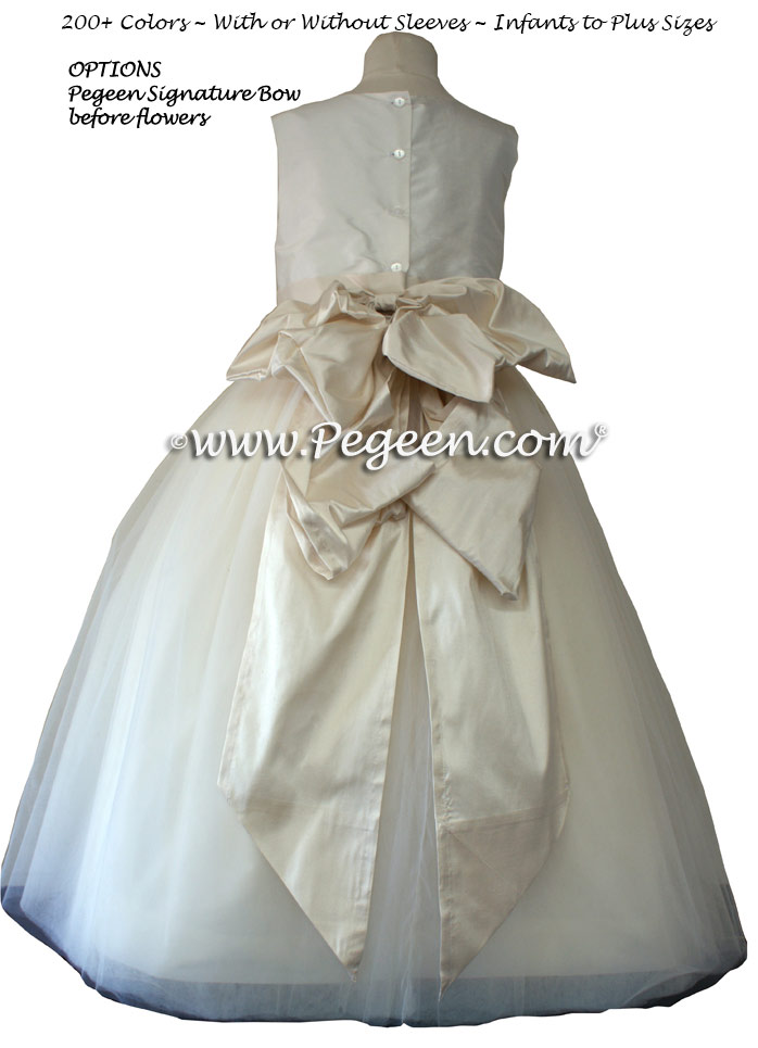 Bisque (light creme) and Ivory Tulle  metallic ballerina style FLOWER GIRL DRESSES with layers and layers of tulle