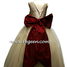 CLARET RED AND GOLD AND IVORY FLOWER GIRL DRESSES