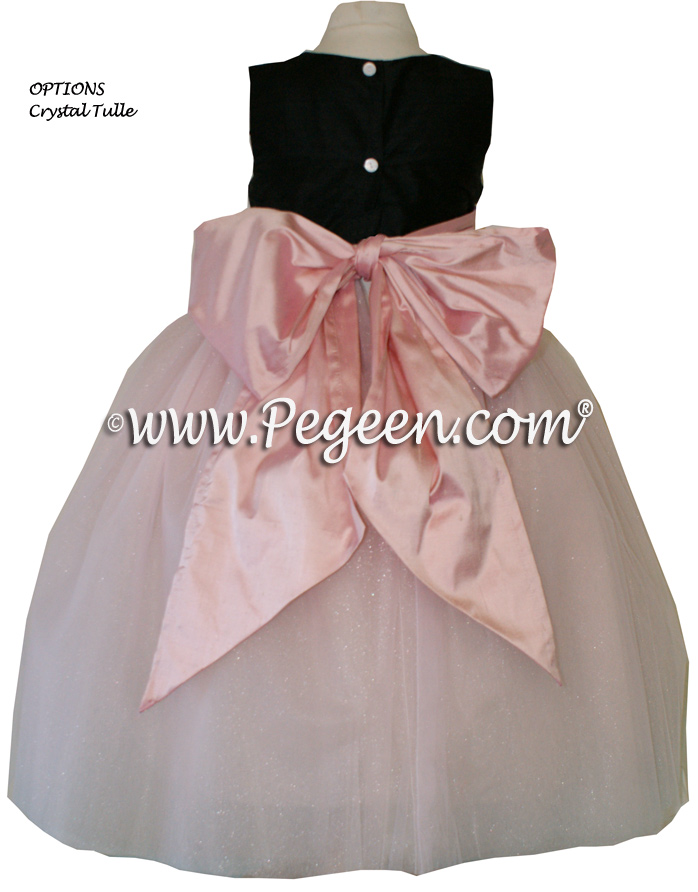 Black and Lotus Pink silk and tulle  flower girl dress