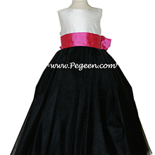 Pegeen Flower Girl Dresses with layers and layers of tulle in Black, Shock Pink, Antique White Silk