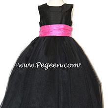 Black and hot pink shock degas tulle ballerina tulle flower girl dresses