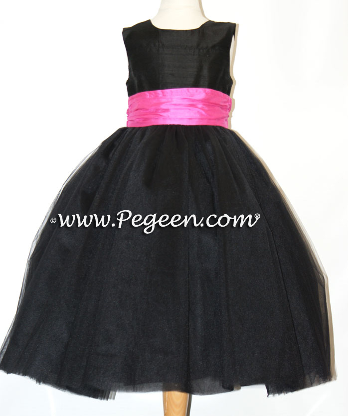ballerina style FLOWER GIRL DRESSES with layers and layers of tulle Black and hot pink shock degas tulle ballerina tulle flower girl dresses