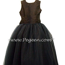 Black Silk and Tulle Silk Cinderella Style Bow Flower Girl Dresses