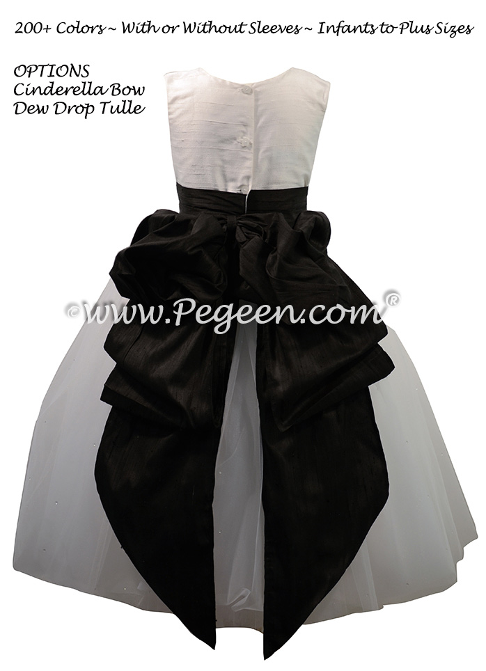 Flower Girl Dress with a Cinderella Bow in White and Black Silk and Tulle | Pegeen