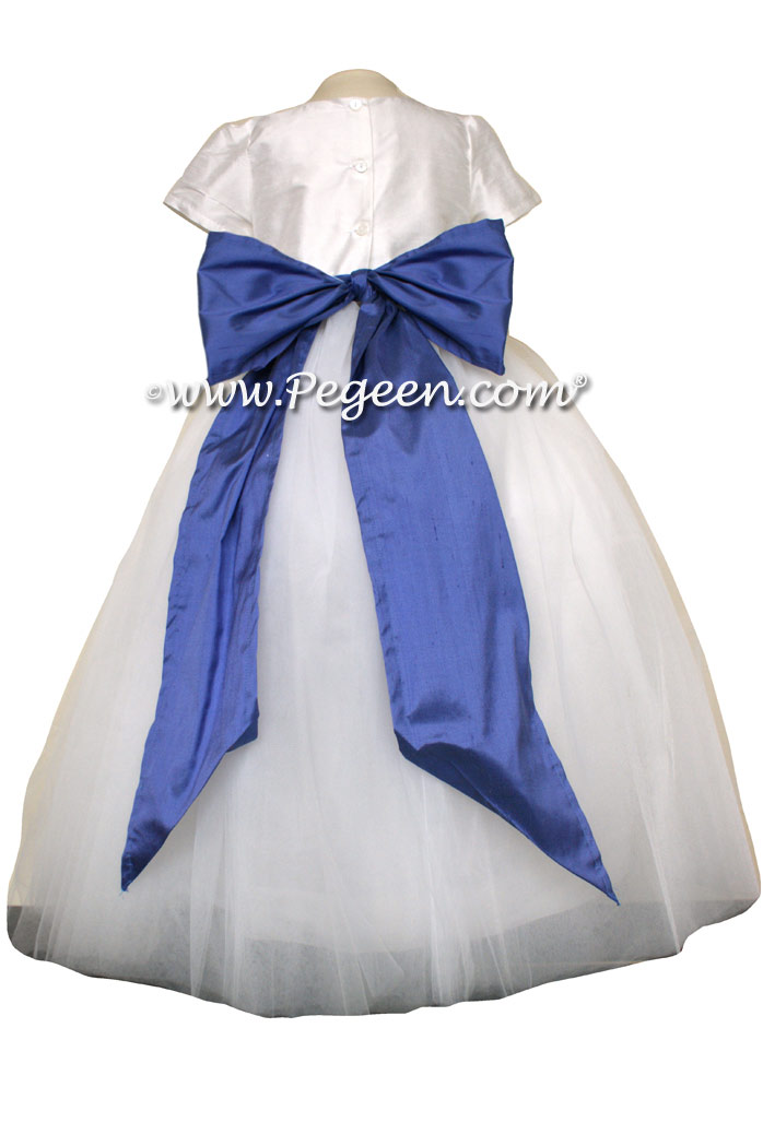 Antique White and Blueberry FLOWER GIRL DRESSES with 10 layers of tulle