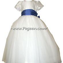 Antique White and blueberry ballerina style Flower Girl Dresses