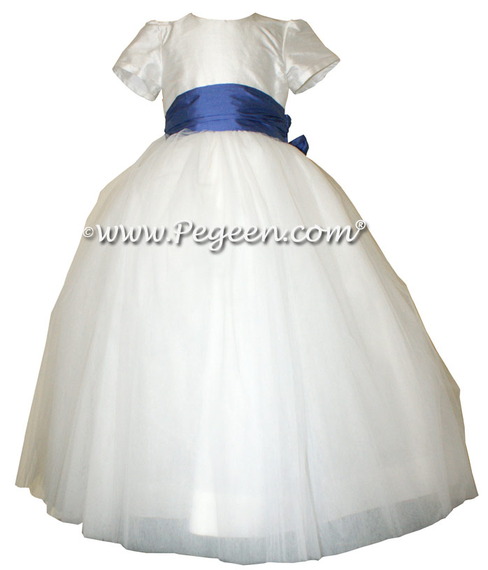 Blueberry and antique white silk flower girl dresses