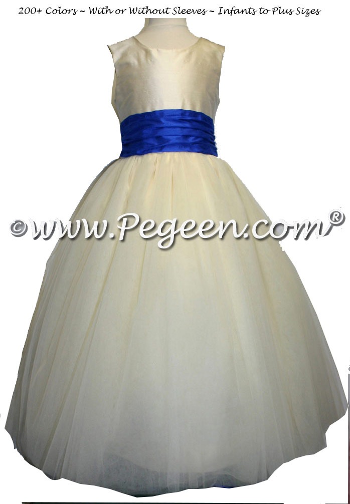 New Ivory and deep saphire FLOWER GIRL DRESSES with 10 layers of tulle