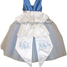 Antique White and Blue Moon ballerina style Flower Girl Dresses with layers and layers of tulle