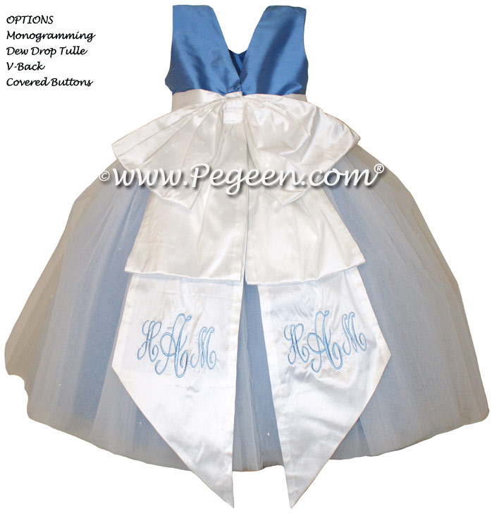 New Ivory and Blue Moon ballerina style Flower Girl Dresses with layers and layers of tulle