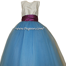 Blue Moon and Thistle (purple) silk and tulle ballerina style flower girl dresses