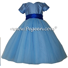Saphire blue and blue moon tulle custom flower girl dresses