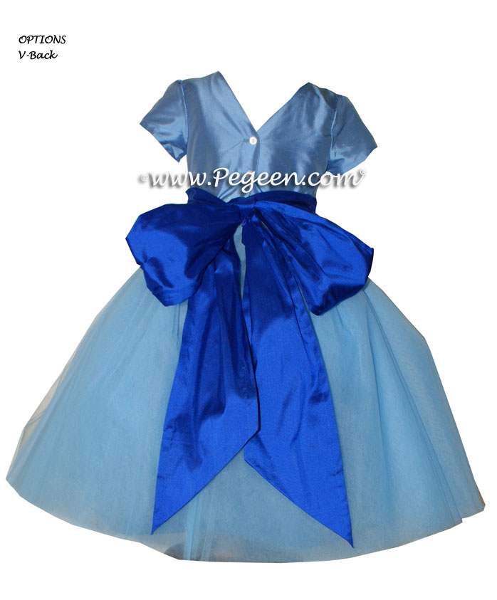 Flower Girl Dresses with layers of tulle in Sapphire and Blue Moon | Pegeen