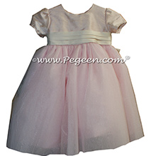 Flower girl Dresses in blush pink and Bisque with Crystal Tulle