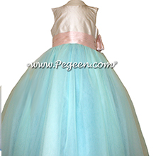 Tiffany blue and blush pink ballerina style 402 Flower Girl Dresses with layers of tulle