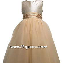 blush pink champagne flower girl dress with 10 layers of tulle
