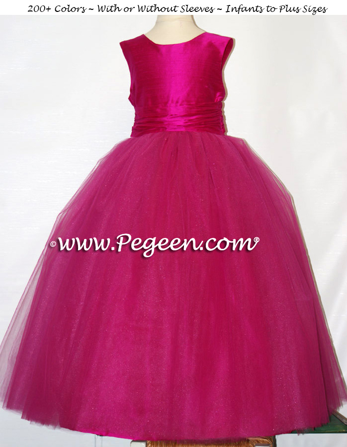 Custom Flower Girl Dresses Boing (Hot Pink) Silk and Tulle | Pegeen
