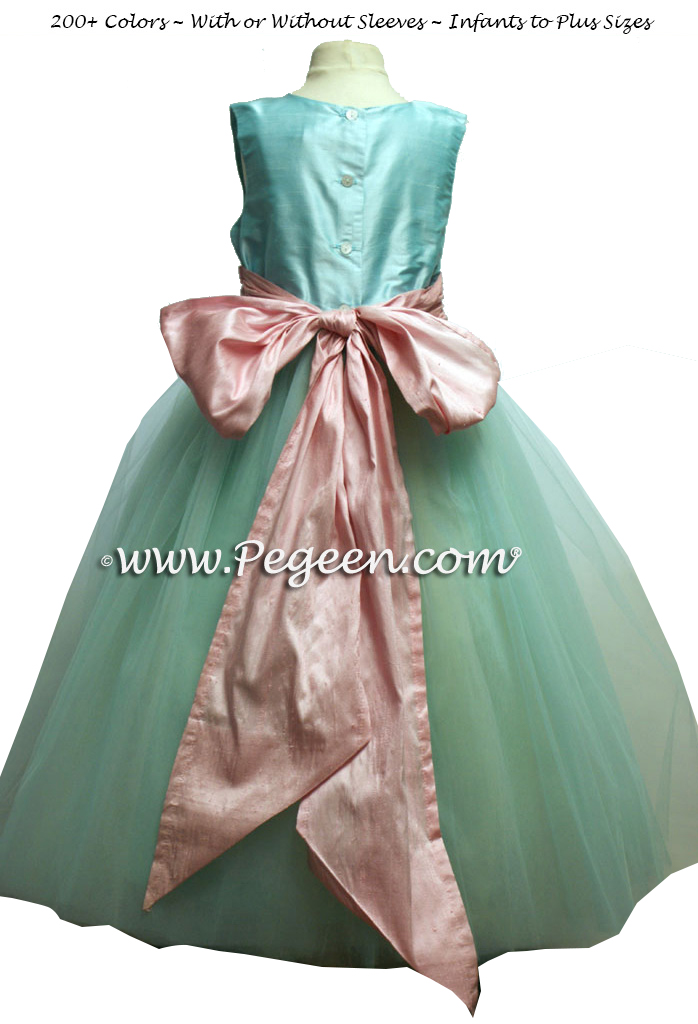flower girl dresses in Tiffany blue and chocolate brown with matching ring bearer suit