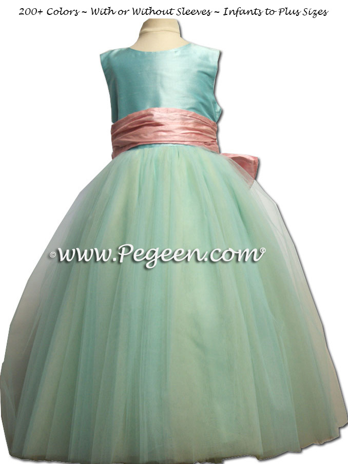 Flower Girl Dress in Tiffany blue and bubblegum pink with layers of tulle | Pegeen