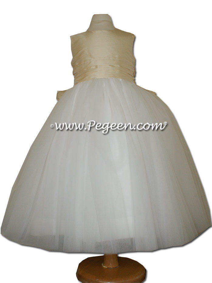 Buttercreme and New Ivory ballerina style FLOWER GIRL DRESSES with layers and layers of tulle