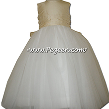 Buttercreme And New Ivory Ballerina Style Flower Girl Dresses With Layers And Layers Of Tulle in Pegeen Couture Style 402
