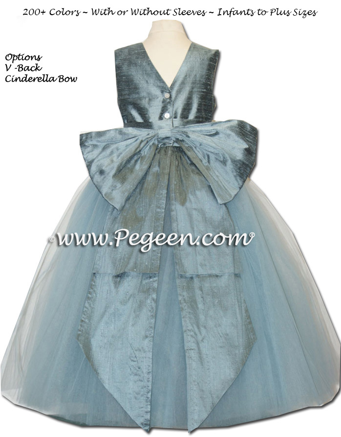 Cadet Blue  ballerina style FLOWER GIRL DRESSES with layers and layers of tulle