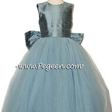Cadet Blue and Williamsburg Tulle Silk Flower Girl Dress Style 402
