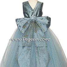Cadet Blue tulle flower girl dresses matches Priscilla