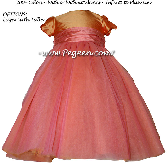 Flower girl dress in Cantaloupe and Sunset (coral) in Degas ballerina style | Pegeen