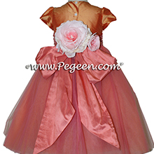 Cantelope and sunset coral shades ballerina style Flower Girl Dresses with layers and layers of tulle