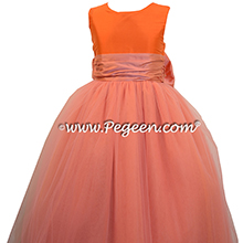 CARROT and Coral Rose silk and tullle flower girl dresses