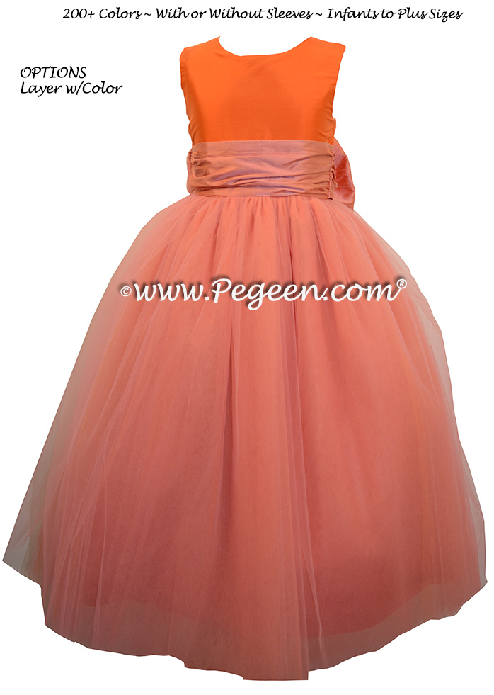 Pegeen's CARROT, carrot and orange shades of silk and Tulle Degas Style FLOWER GIRL DRESSES with 10 layers of tulle