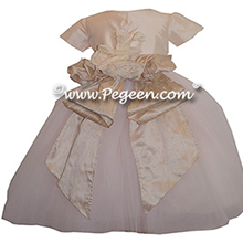 Champagne Pink and Toffee ballerina style FLOWER GIRL DRESSES with layers and layers of tulle