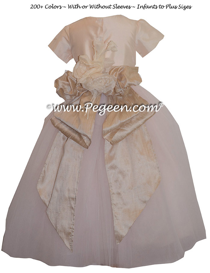 Pegeen's Champagne Pink and Toffee and orange shades of silk and Tulle Degas Style FLOWER GIRL DRESSES with 10 layers of tulle