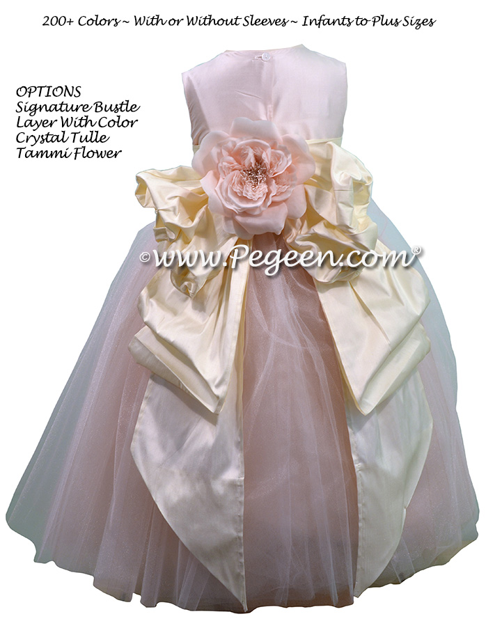 Champagne Pink and Bisque of silk and Tulle Degas Style FLOWER GIRL DRESSES with a Pegeen Signature Bustle