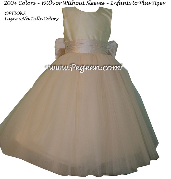 Pegeen's Champagne pink and petal pink Tulle Flower Girl Dresses with 10 layers of tulle