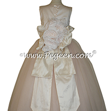 Champagne Pink and Bisque ballerina style FLOWER GIRL DRESSES