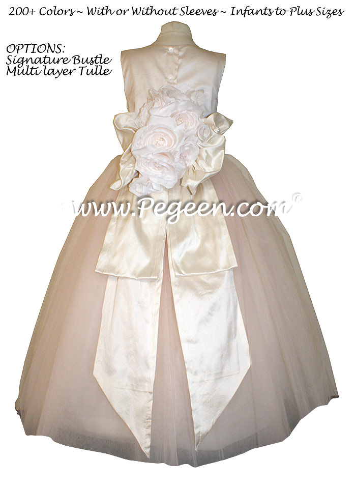 Champagne Pink and Bisque (creme) ballerina style FLOWER GIRL DRESSES with layers and layers of tulle