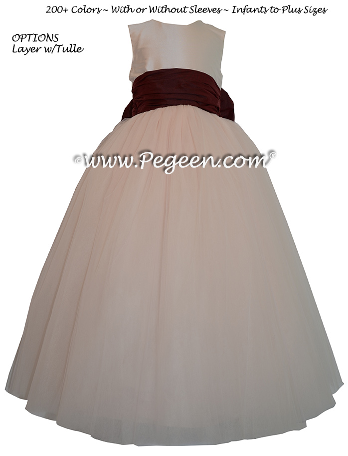 Pegeen's Champagne Pink and Ruby and orange shades of silk and Tulle Degas Style FLOWER GIRL DRESSES with 10 layers of tulle