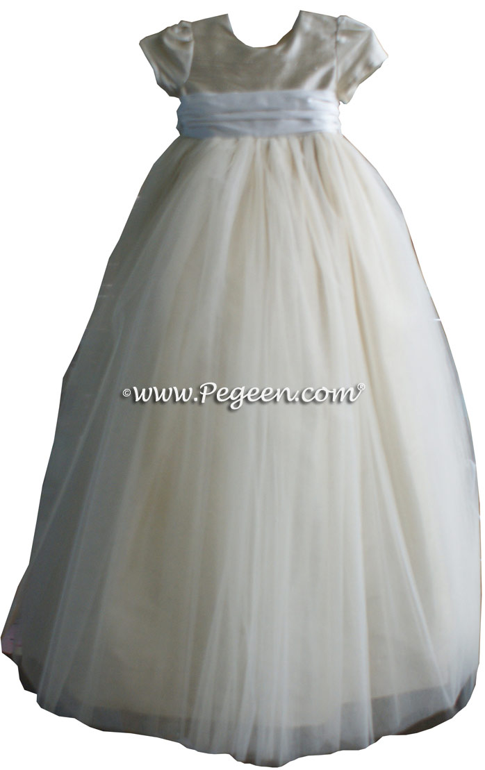 Dew Drop White Tulle  metallic ballerina style FLOWER GIRL DRESSES with layers and layers of tulle