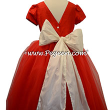 Red tulle flower girl dresses