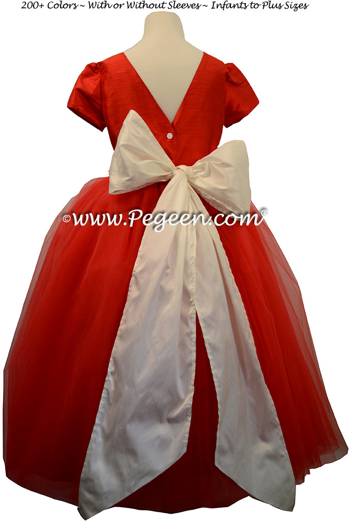 Christmas Red  and white silk and tulle ballerina flower girl dresses - Degas style