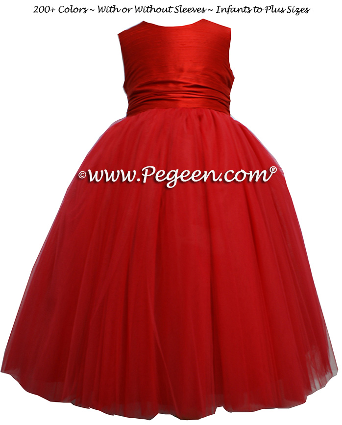 Custom flower girl dress in Red Silk and Red Tulle - Style 402 | Pegeen