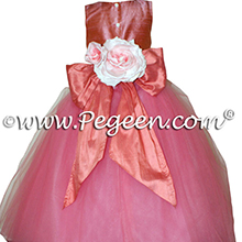 Coral Rose and Sunset(coral) silk flower girl dresses 402 Gumdrop Tulle