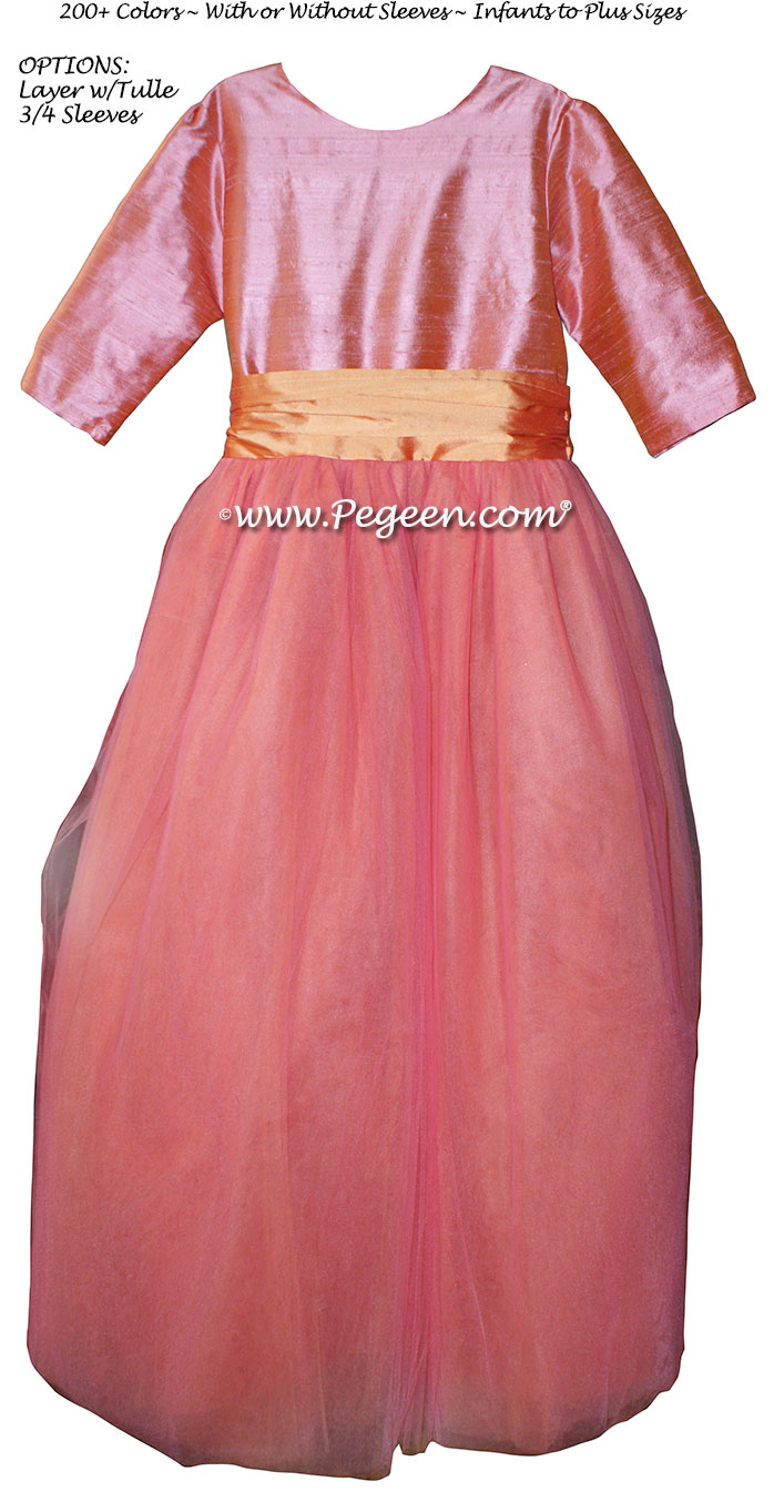 Pegeen's Lotus Pink, Nectar and orange shades of silk and Tulle Degas Style FLOWER GIRL DRESSES with 10 layers of tulle