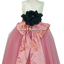 Coral Rose and Bisque ballerina style FLOWER GIRL DRESSES with layers and layers of tulle