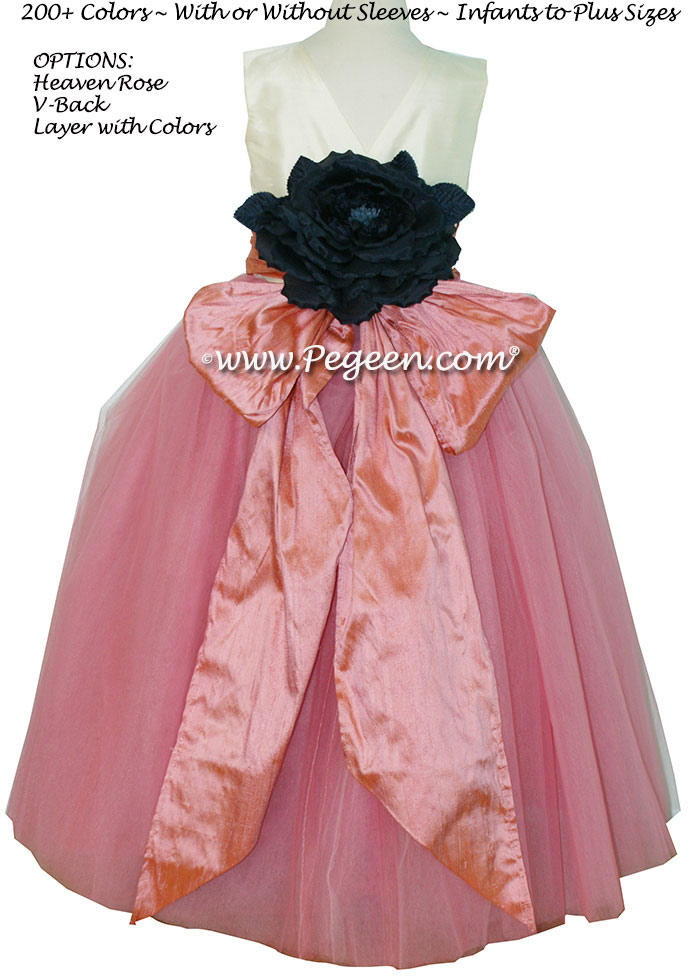 Flower Girl Dresses Coral Rose and Bisque with layers of tulle | Pegeen