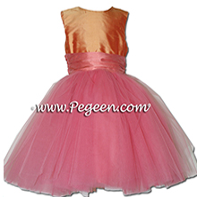 Coral Rose and orange shades ballerina style Flower Girl Dresses with layers and layers of tulle